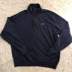Vineyard Vines Navy 1/4 Zip Cotton Sweatshirt